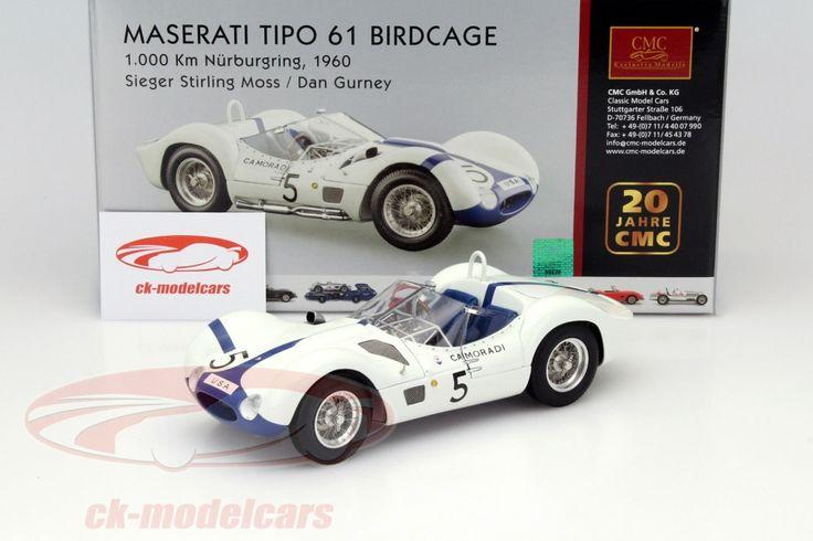 Maserati Tipo 61 Birdcage, Winner 1000km Nurburgring 1960, No.5, Stirling Moss / Dan Gurney. CMC, 1/18. Price (2016): 305 EUR.