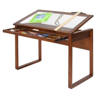 @Overstock.com - Studio Designs Ponderosa Glass-topped Solid Wood Drafting Table - This eye-catching wooden glass-topped table features a durable, tempered glass surface for maximum support and is held up by a sturdy, solid wood frame and strong legs. Its five partition drawer is great for quick and convenient storage space.  http://www.overstock.com/Crafts-Sewing/Studio-Designs-Ponderosa-Glass-topped-Solid-Wood-Drafting-Table/7179300/product.html?CID=214117 $182.60
