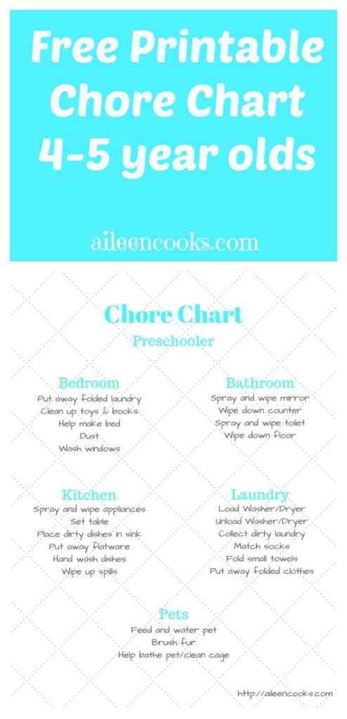 Lively image in printable chore chart for 4 year old