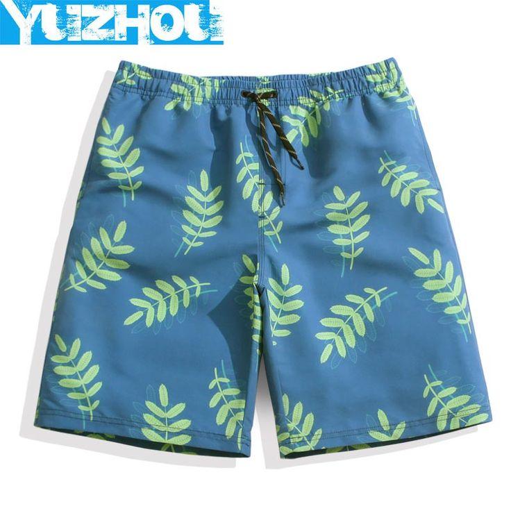 Yuzhou board shorts mens swimsuit leaves pattern swimwear surf plavky sweat running joggers Elastic waist beach praia swim loose
