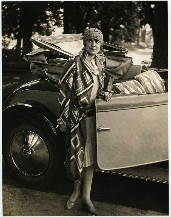 Model wearing coat designed by Sonia Delaunay, 1926–27, Bibliothèque Nationale de France
