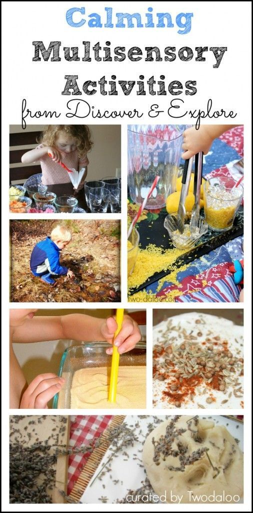 A collection of calming sensory activities for children that engage multiple senses through play and exploration.