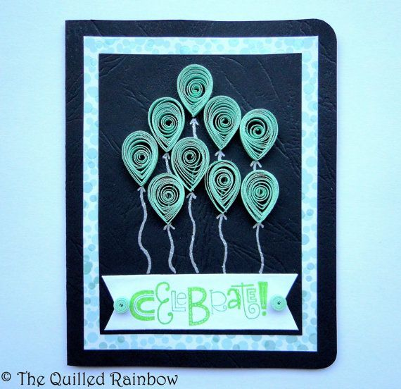 Quilled Balloons Celebrate Card  Handmade by TheQuilledRainbow
