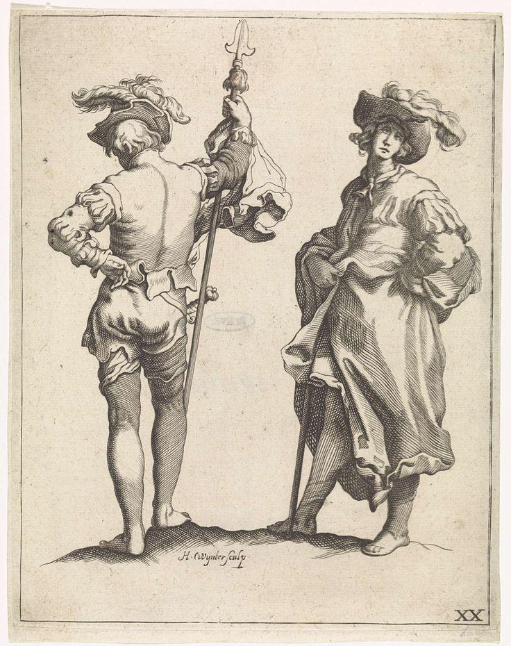 Hendrik Winter | Twee soldaten, Hendrik Winter, Frederick Bloemaert, Abraham Bloemaert, 1630 - 1677 | Twee soldaten. Links een piekenier op de rug gezien. Rechts een soldaat met een hoed met pluim op het hoofd. Rechtsonder genummerd: XX.