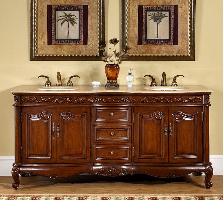 """Double Bowl Vanity Tops For Bathrooms: Details About 72"""" Bathroom Travertine Stone Top Lavatory"""