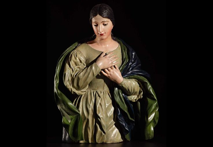 Virgen Escuela Granadina, S.XVII Madera tallada y policromada 86 x 64 x 40 cm