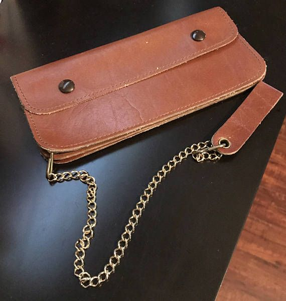 Vintage Men's Leather Wallet With Safety Chain Trucker