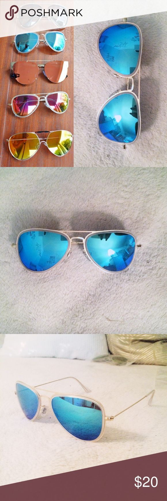 Blue aviator Sunglasses 💙😎 Brand new, no tags. It was a gift but they are too small for my face. Best for someone with small face. Very light and stylish! Accessories Sunglasses