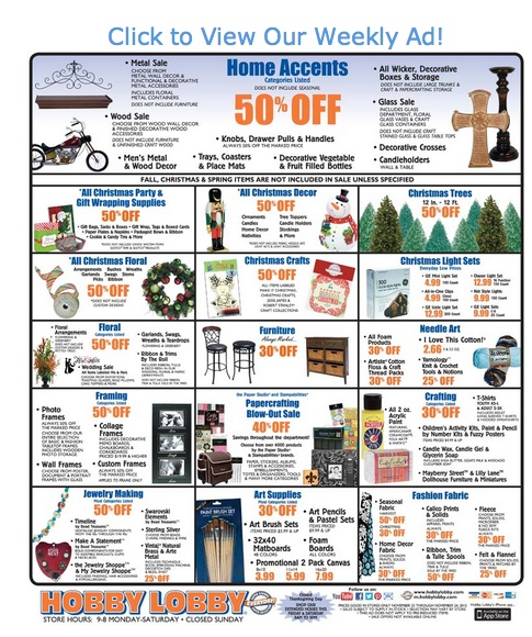 Hobby Lobby Black Friday Savings 50% off on all Christmas decor, trees, home decor and more 2012