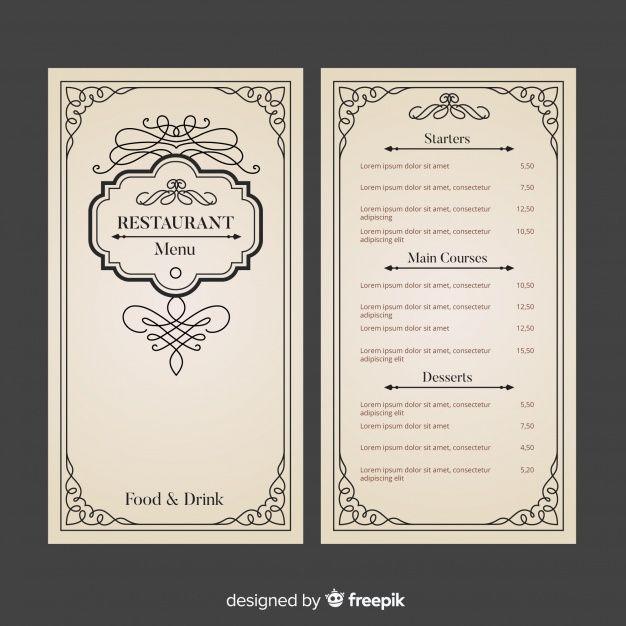 Telechargez Modele De Menu De Restaurant Avec Des Ornements Elegants Gratuitement Menu Restaurant Restaurant Menu Design Restaurant Menu Template