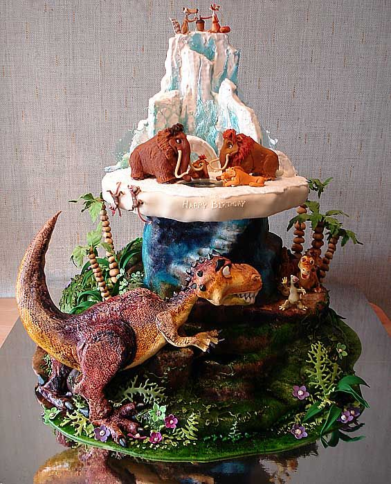 Wow, check out this cake inspired by Ice Age: Dawn of the Dinosaurs.