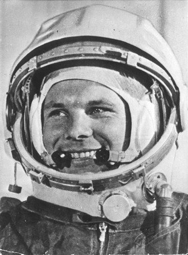 Yuri Gagarin (1934 – 1968), a Russian cosmonaut, the first human in space, wearing his space suit. April 12, 1962.