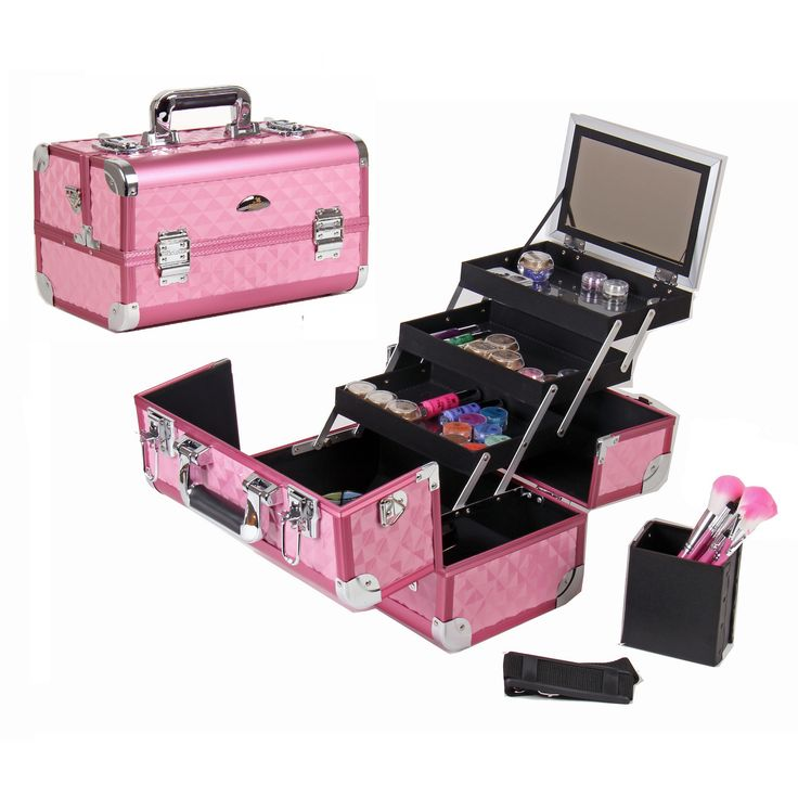 You'll love organizing your wild eyeshadow colors and lipgloss collection in this hot pink makeup train case. It has three trays in which you can sort your favorite makeup items, and it comes with a mirror and brush holder to make application easy.
