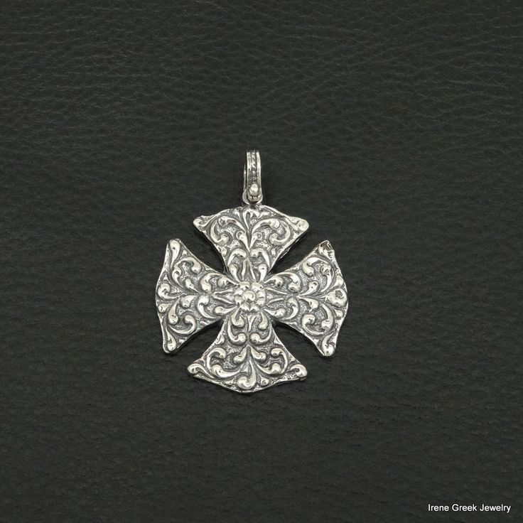 MEDIEVAL CROSS 925 STERLING SILVER GREEK HANDMADE ART BIG RARE  #IreneGreekJewelry #Pendant