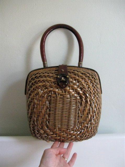 1960s Etienne Aigner Wicker Basket Handbag