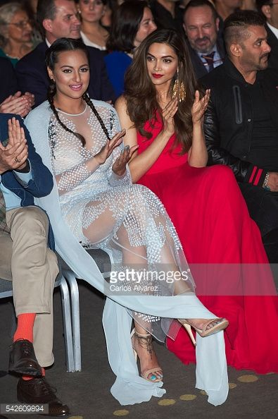 Indian actresses Sonakshi Sinha (L) and Deepika Padukone (R) attend the press conference for the 17th edition of IIFA Awards (International Indian Film Academy Awards) at the Palace Hotel on June 23, 2016 in Madrid, Spain.