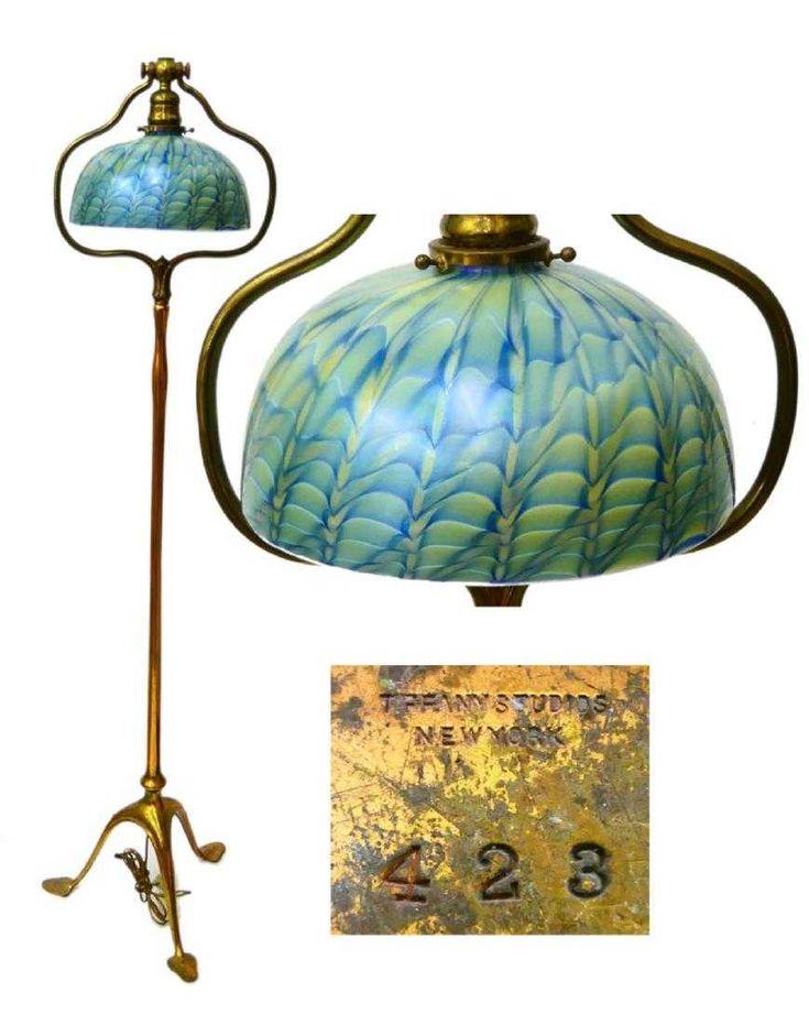 Original Tiffany Studios Floor Lamp With Three Feet Having Leaf