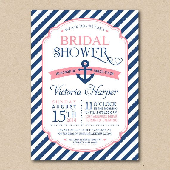 Bridal Shower Invitation Nautical by BellasBoutiqueDesign on Etsy, $15.00