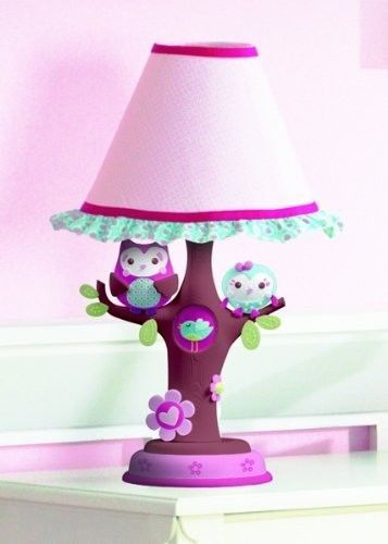 Infant Baby Lamp Girl Nursery Pink Owl Nightstand Kids