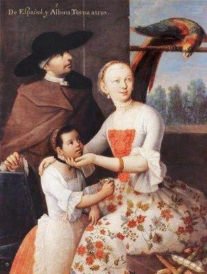 1763 Caste Painting Series by Miguel Cabrera (c 1695-1768) De Español y Albina; Torna atrás.