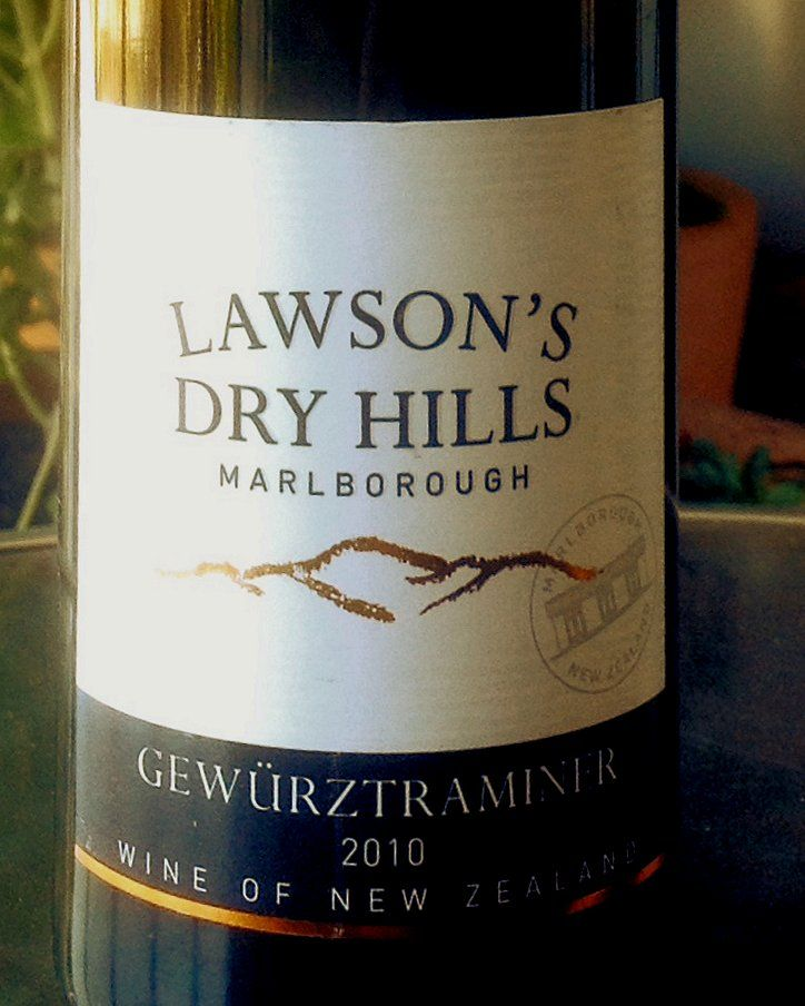 2010 Lawson's Dry Hills Gewurtz.  A consistent winner from Blenheim, New Zealand.  I've had many of these from various vintages and they're still a favourite.