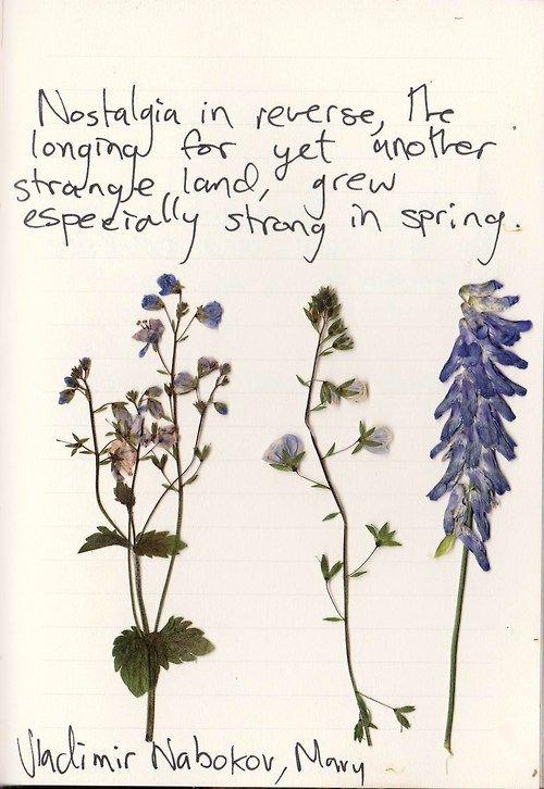 """Nostalgia in reverse, the longing for yet another strange land, grew especially strong in spring."" Vladimir Vabokov"