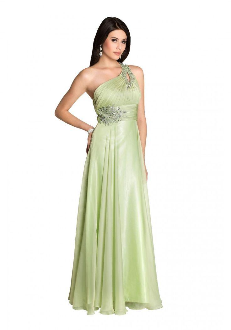 Abendkleid one shoulder grun