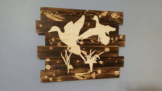 Duck Scene Waterfowl Hunting Outdoors Wooden Wall Art