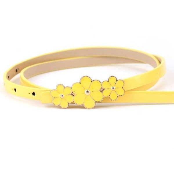Yellow Faux Leather Flower Decor Stylish Belt (10 AUD) ❤ liked on Polyvore featuring accessories, belts, yellow, embellished belt, flower belt, faux leather belt, vegan belts and yellow belt