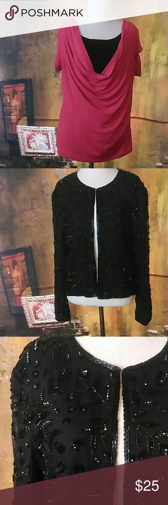 Night lite beaded jacket size M Black beaded jackets size M Night light Jackets & Coats