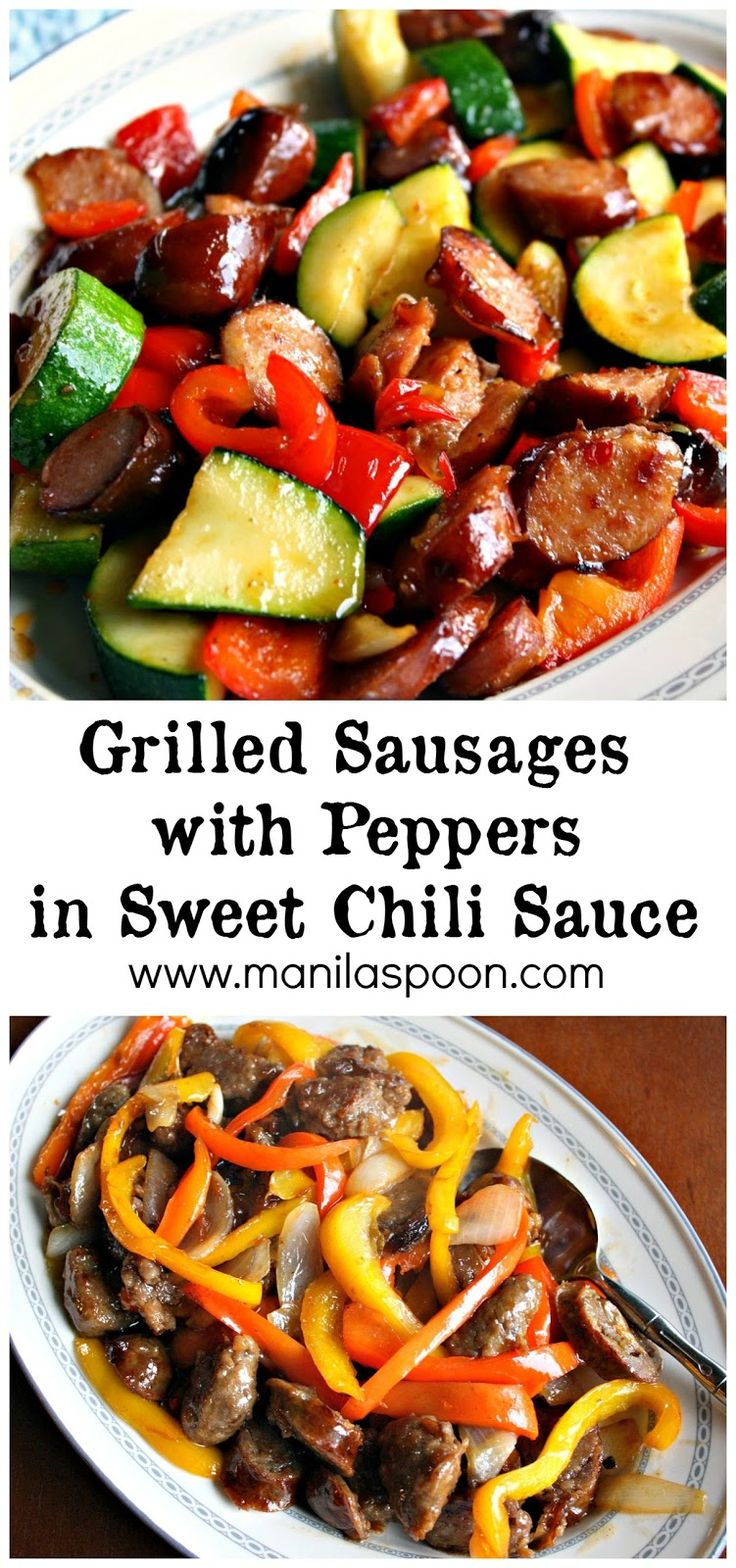 Use your left-over grilled sausages or hot dogs to make this easy and yummy sausage with peppers and sweet chili sauce. This is really good! #grilled #sausage #sweet #chili #sauce