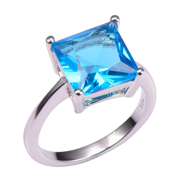 Classic Style Blue Simulated Topaz 925 Sterling Silver Wedding Party Fashion Design Romantic Ring  Size 5 6 7 8 9 10 11 12 PR43