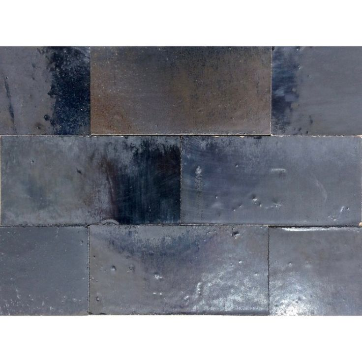 Zellige Tile Metallic Black 15cm x 7.5cm