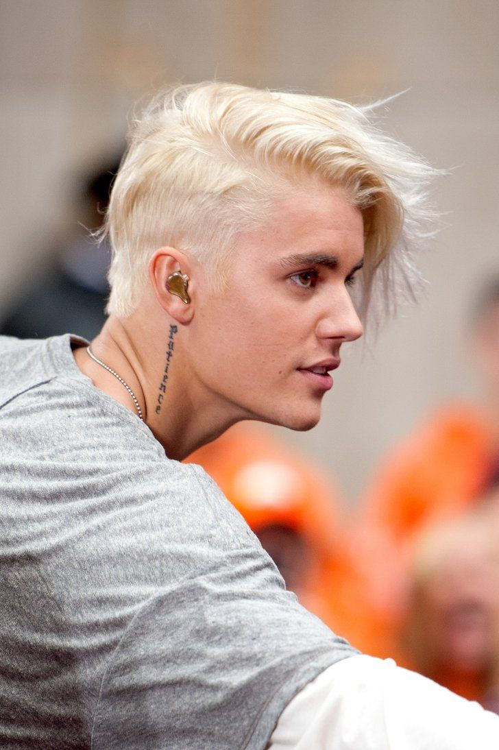 "Pin for Later: From ""Baby"" to Babe: The Evolution of Justin Bieber's Incredible Hair 2015 Surprise! Justin performed on the Today show with a dramatic, platinum-blond mane."