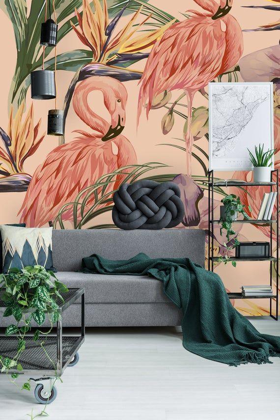 Removable Wallpaper Self Adhesive Wallpaper Pink Flamingos Etsy Carta Da Parati Parete Idee