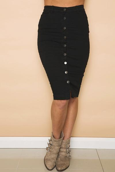 Revolver Denim Skirt in Black // GELATO LANE
