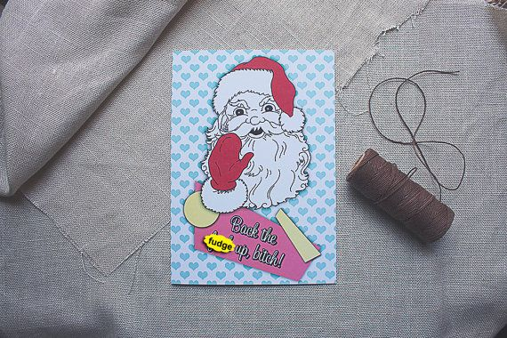 Rude Christmas Card Santa Milk Cookies Recycled by sylvannest, $6.00