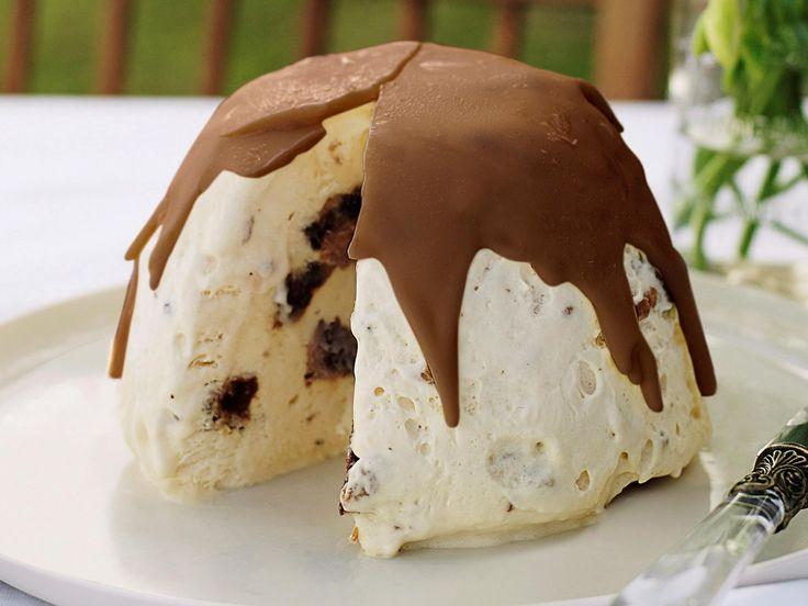 Christmas pudding and chocolate semifreddo