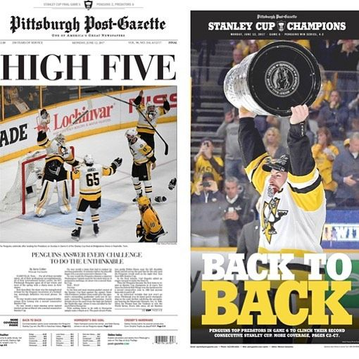 """898 Likes, 3 Comments - Pittsburgh Post-Gazette (@pittsburghpg) on Instagram: """"Our front page and sports page, celebrating the Penguins' fifth Stanley Cup victory. You can also…"""""""