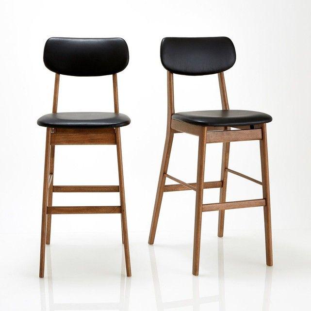 Chaise de bar, lot de 2, Watford La Redoute Interieurs : prix, avis & notation, livraison.  Le lot de 2 chaises design vintage Watford. Lignes subtiles et allure graphique pour ces chaises de bar Watford, elles trouveront aussi bien leur place dans la cuisine, que dans le bureau.Caractéristiques de la chaise de bar Watford :Structure en hévéa, finition noyer, vernis nitrocellulosique.Assise et dossier rembourrés et garnis mousse polyéther rev&a...