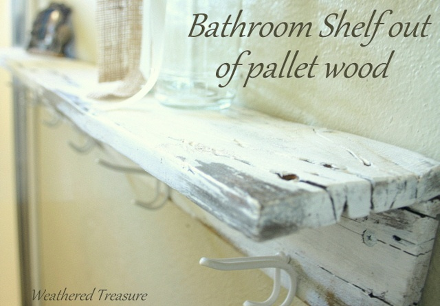 twoplanks of re purposed pallet wood screwed together for a vintage shelf
