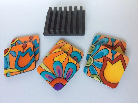 Posavasos y base de madera hecho a mano pintan de por FucsiaDesigns
