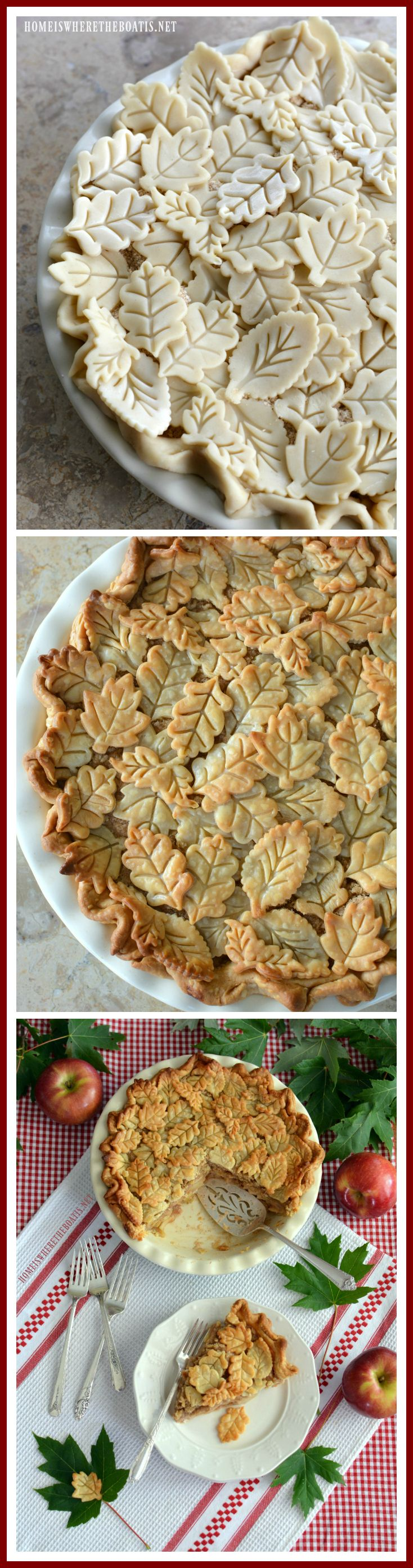 Apple Pie with pie crust leaf embellishments | homeiswheretheboatis.net #recipe… (Apple Recipes Dessert)