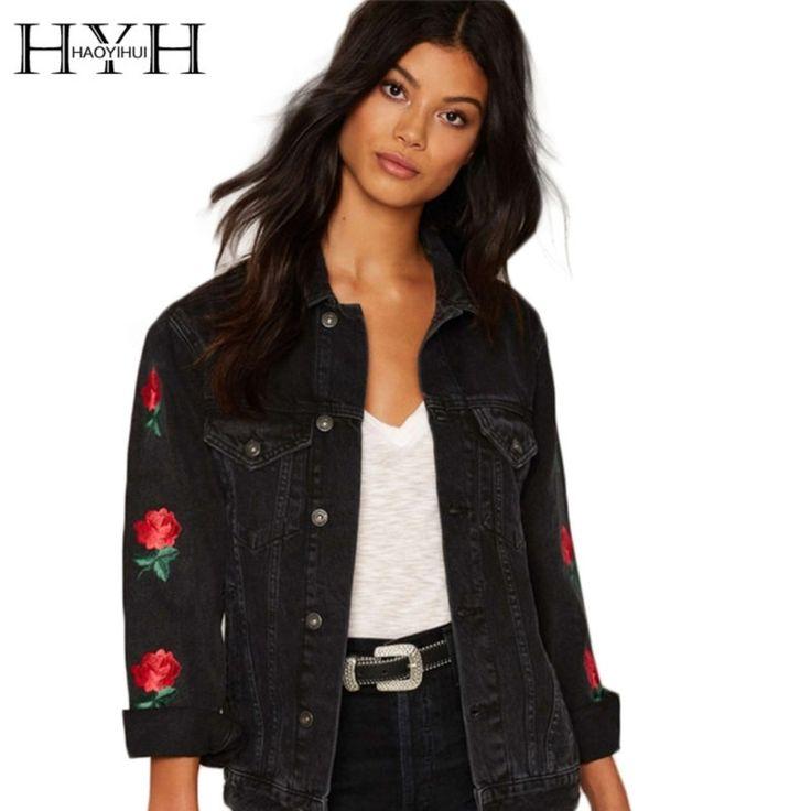 HYH HAOYIHUI Black Women Denim Jacket Casual Floral Embroidery Streetwear Coat Vintage Button Pockets Commuter Coat