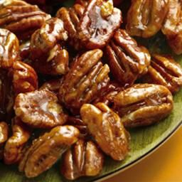 Glazed Pecans- i sprinkled a little salt on as they cooled to give them that salty sweet.