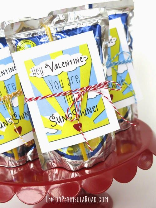 """You Are My Sunshine!"" Valentine Printable Cards to use with Capri-Sun drink pouches. Easy classroom Valentine idea."