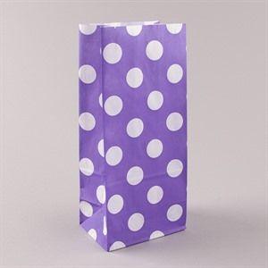 Blockbodenbeutel  Pick` n Mix weiß auf lila gepunktet