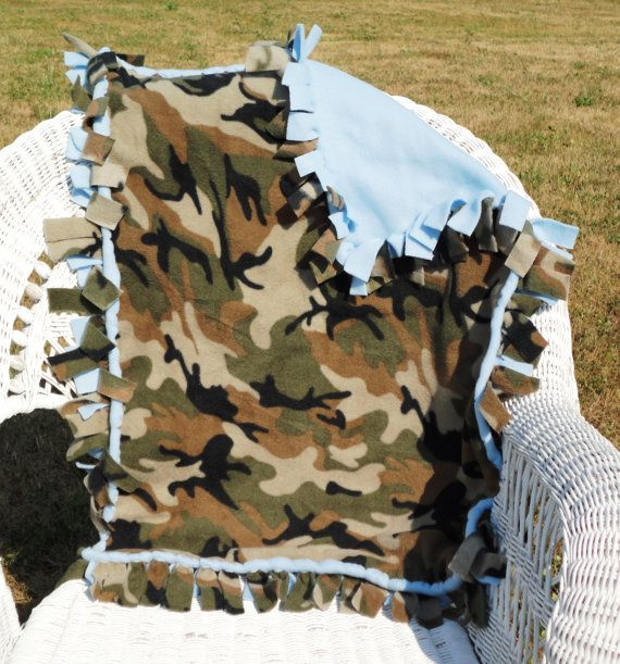Baby Boy Camouflage Fleece Tie Blanket by BaxtersBabyGifts on Etsy, $13.00