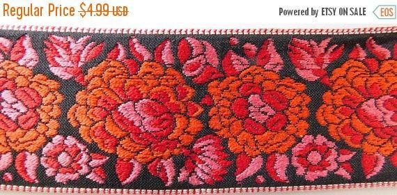 "ON SALE Vintage Jacquard Ribbon Trim | 2"""" Inch Woven Jacquard Ribbon | Renaissance Fair Costume Trim~RED~Orange~Pink~Black~Floral by theartfulbutton on Etsy https://www.etsy.com/listing/513759558/on-sale-vintage-jacquard-ribbon-trim-2"