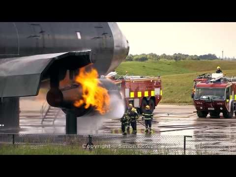 Airport fire fighter training excercise. Manchester Airport UK - YouTube